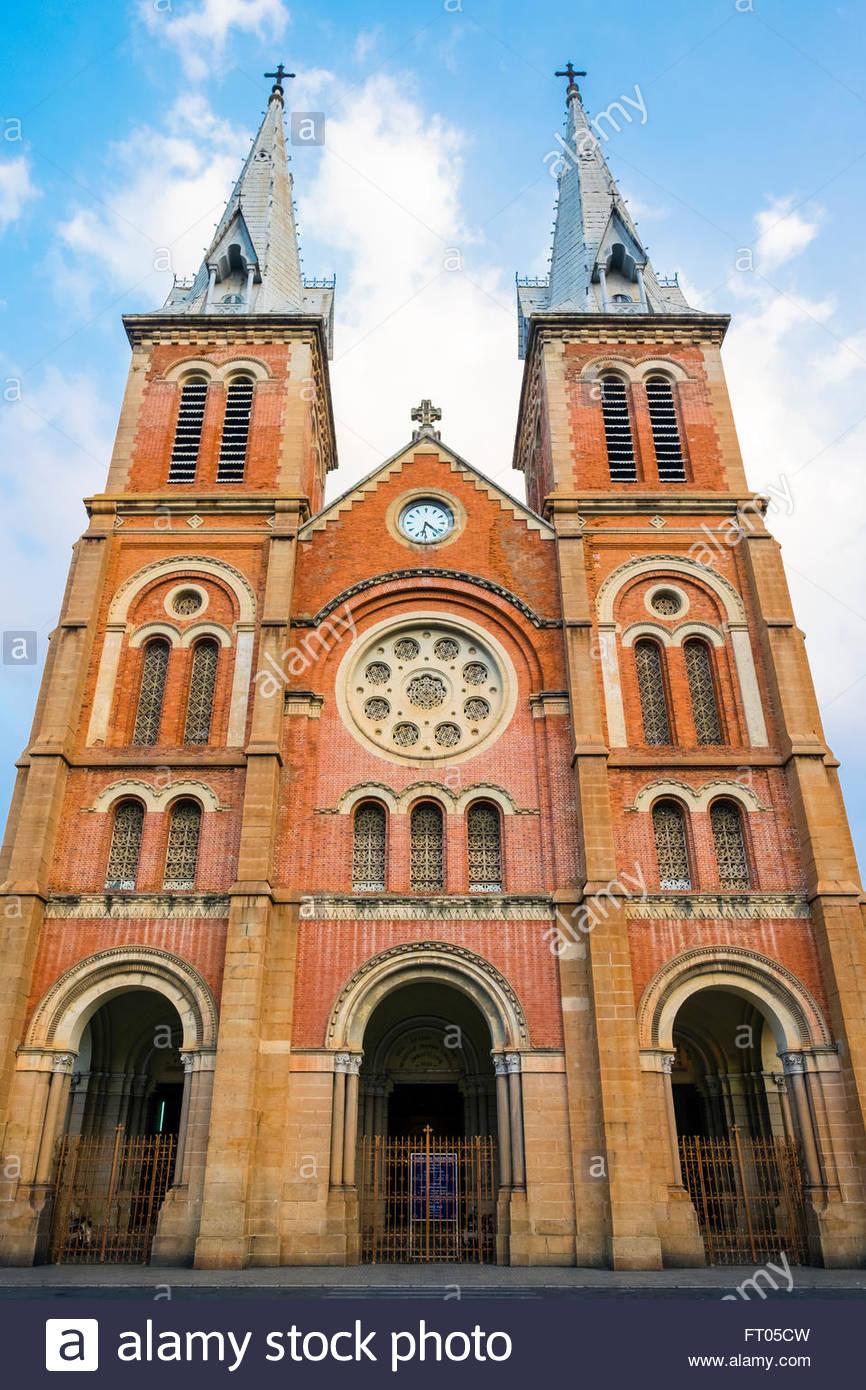 Saigon Notre-Dame Basilica cathedral, Ho Chi Minh City (Saigon), Vietnam - Stock Image