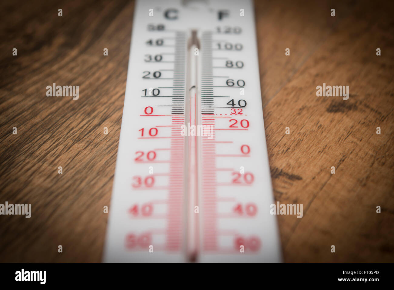 Thermometer measuring room temperature - Stock Image