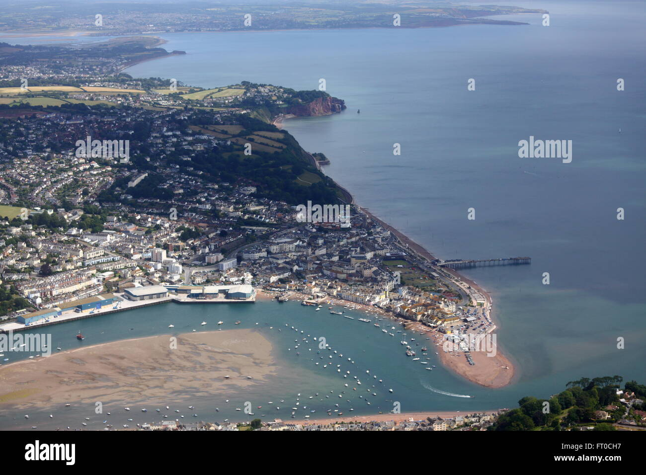 Aerial view of coast near Teignmouth, Dawlish, Exmouth Stock Photo