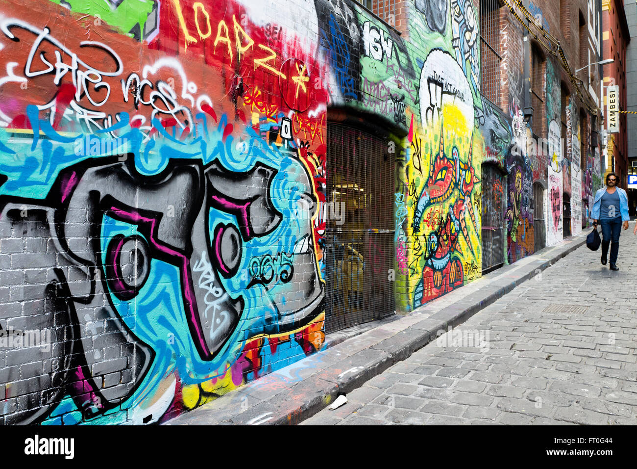 Hosier lane in Melbourne is famous for its graffiti and street art - Stock Image