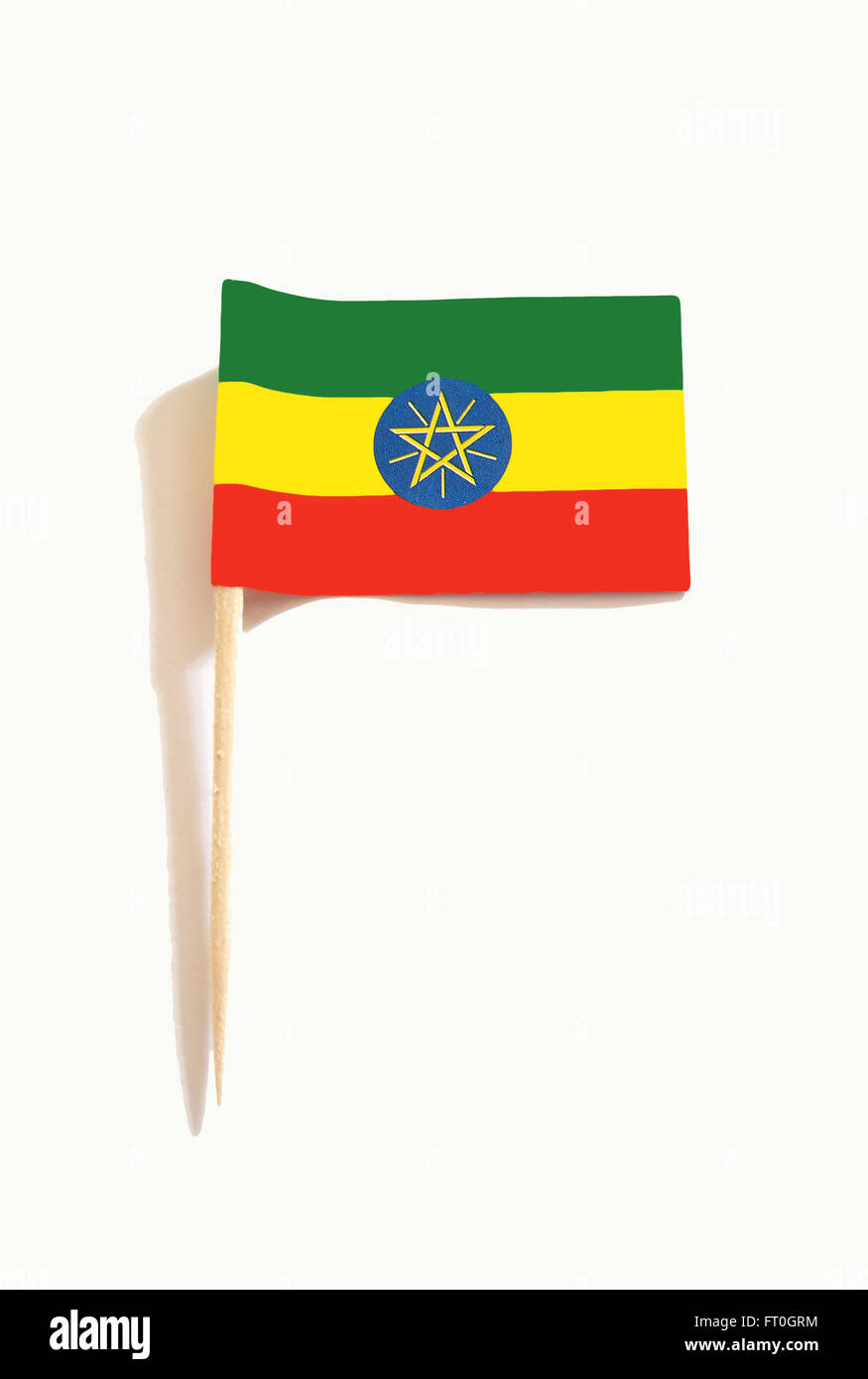 toothpick with Ethiopian flag - Stock Image