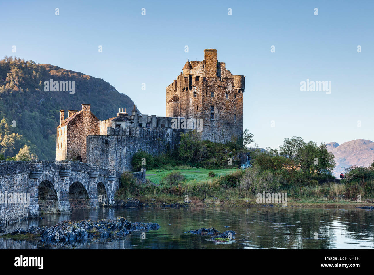 Sunrise at Eilean Donan Castle, Highland, Scotland, UK - Stock Image