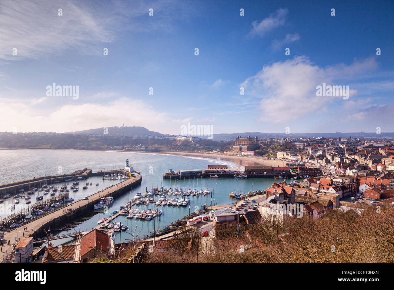 Aerial view over Scarborough, North Yorkshire, from the headland. - Stock Image