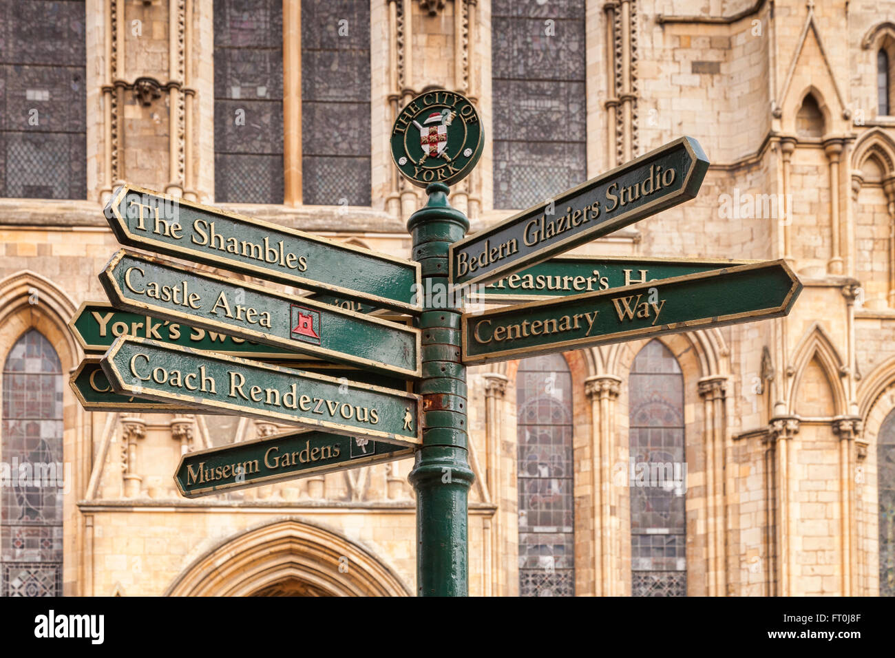 Sign pointing to York tourist attractions at York Minster, York, North Yorkshire, England, UK - Stock Image