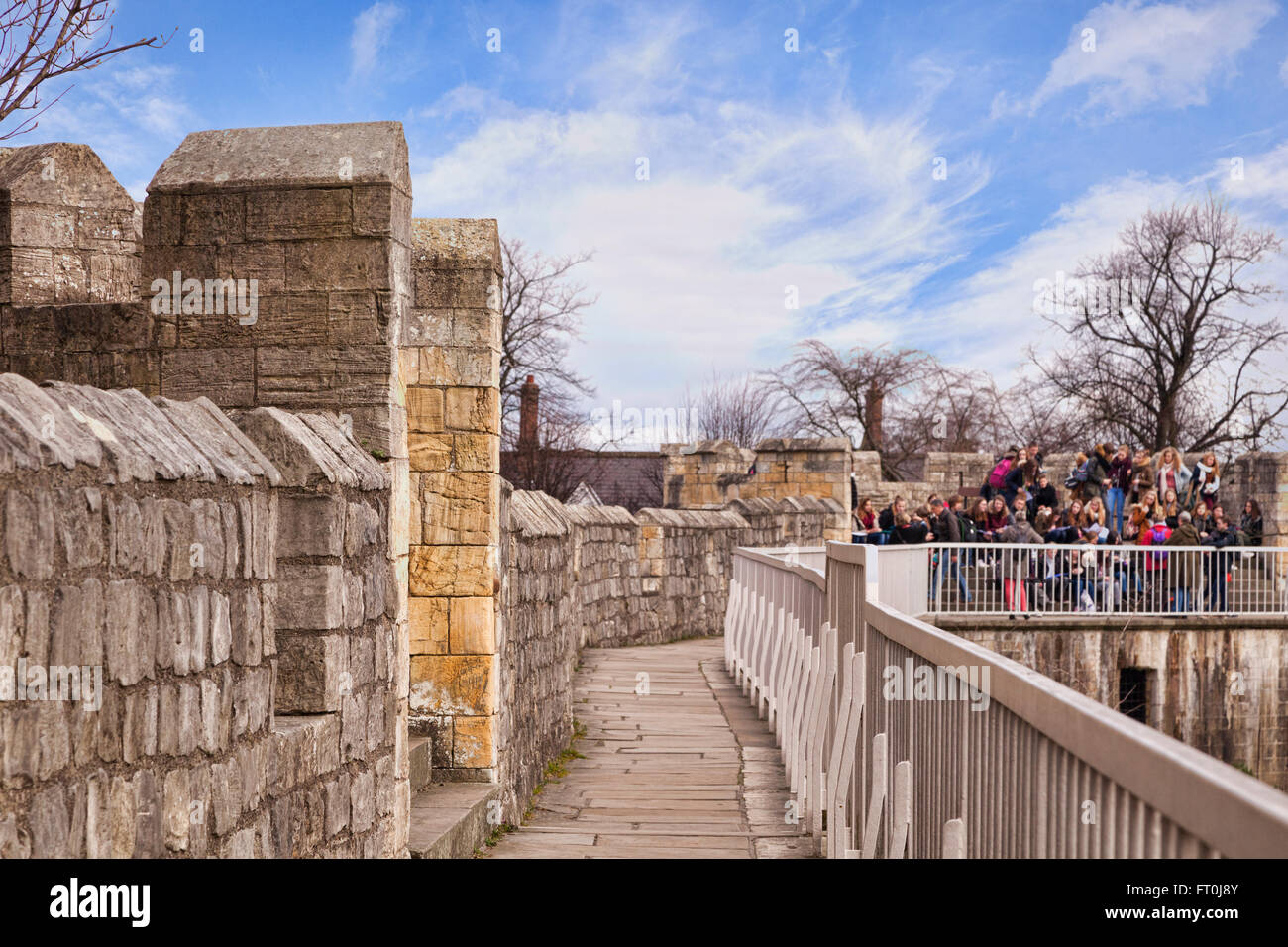 View along York City Walls, York, North Yorkshire, England, UK - Stock Image