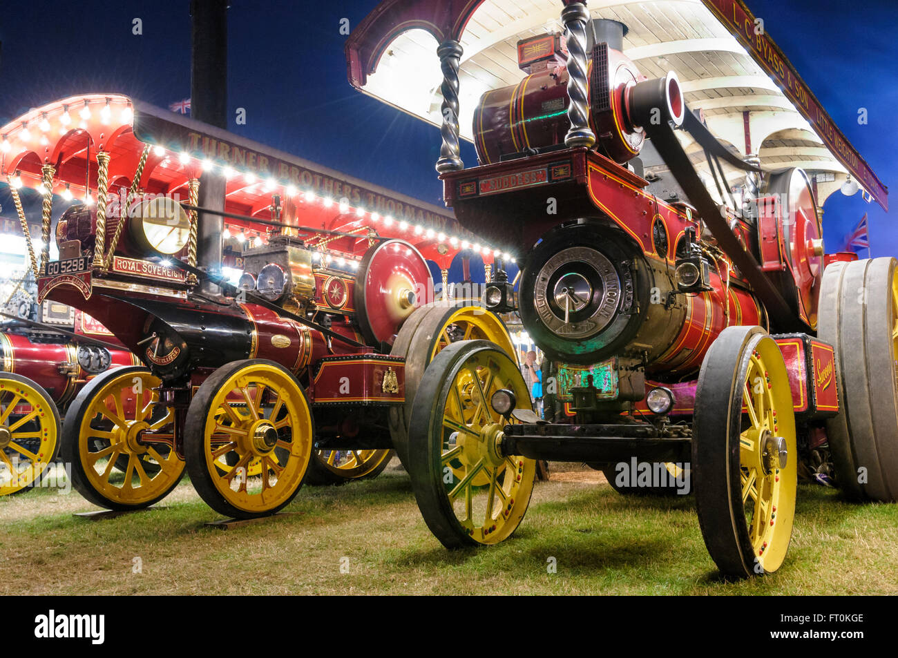 Showman's Conversion road locomotives on display at the Great Dorset Steam Fair, Tarrant Hinton, England - Stock Image