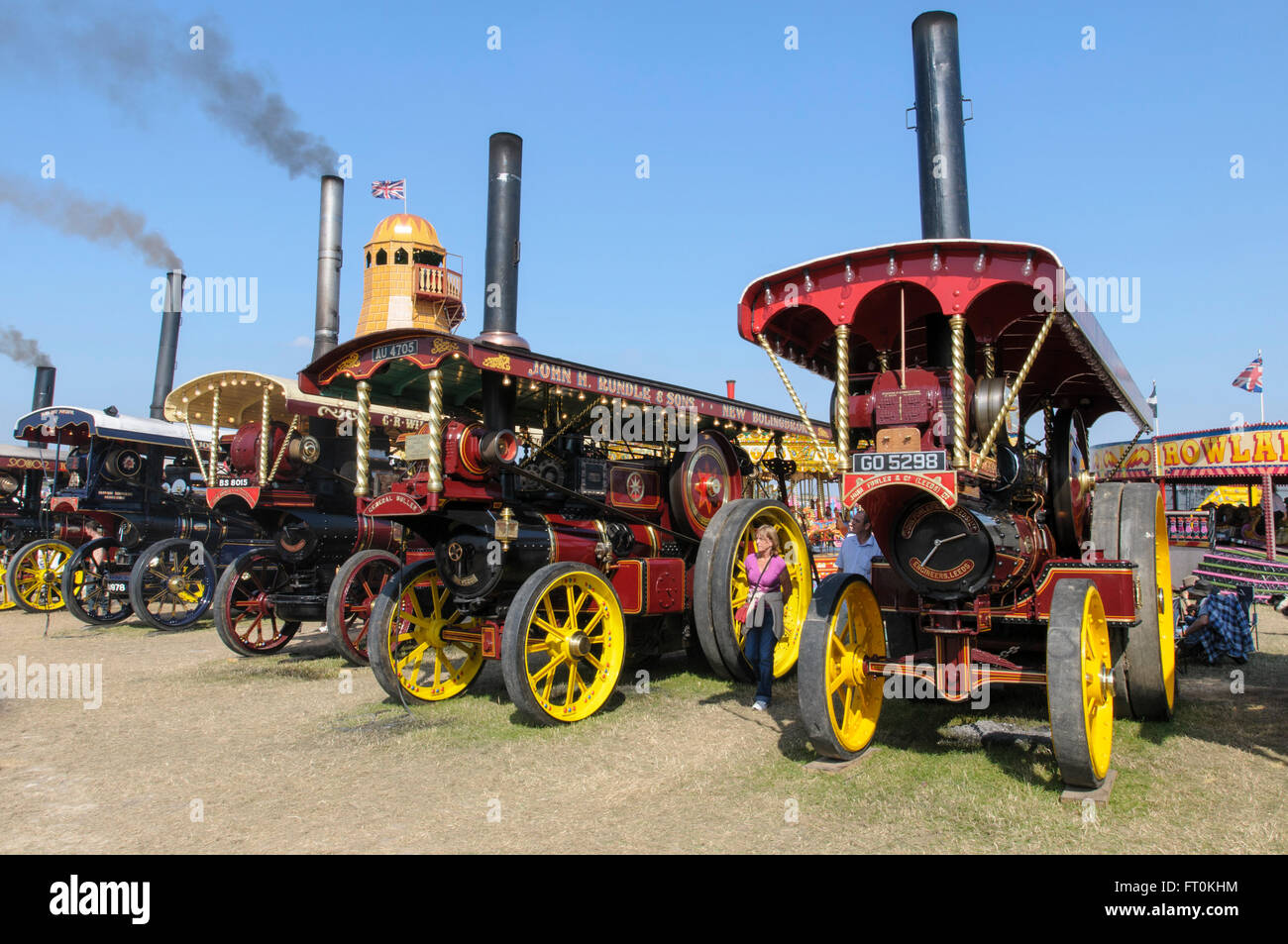 A display of Showman's Conversion road locomotives at the Great Dorset Steam Fair, Tarrant Hinton Blandford - Stock Image