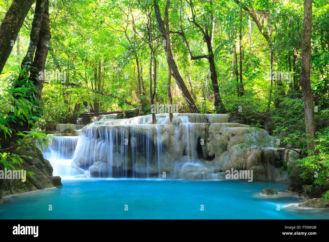 Erawan Waterfall, Kanchanaburi, Thailand - Stock Image