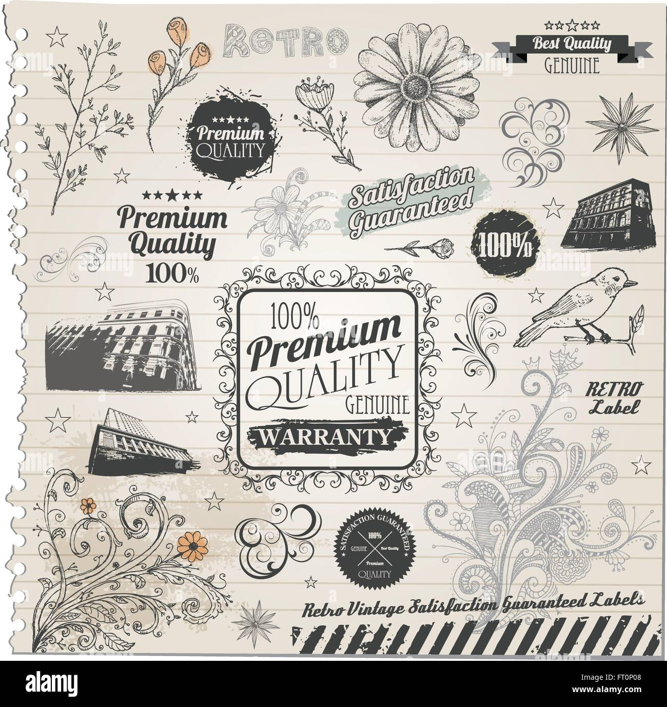 Premium suality and satisfaction guarantee Label, decorative flowers, antique and baroque frames on old paper texture - Stock Vector
