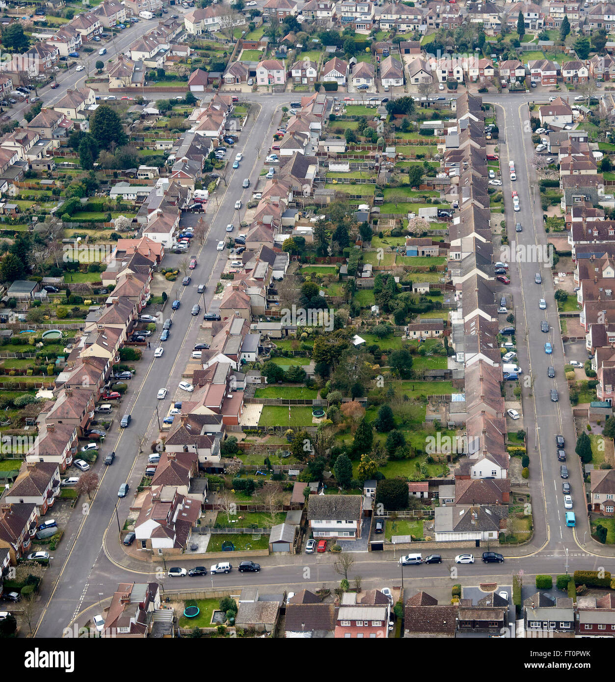 English Semi Detached Suburbia, From The Air, Romford
