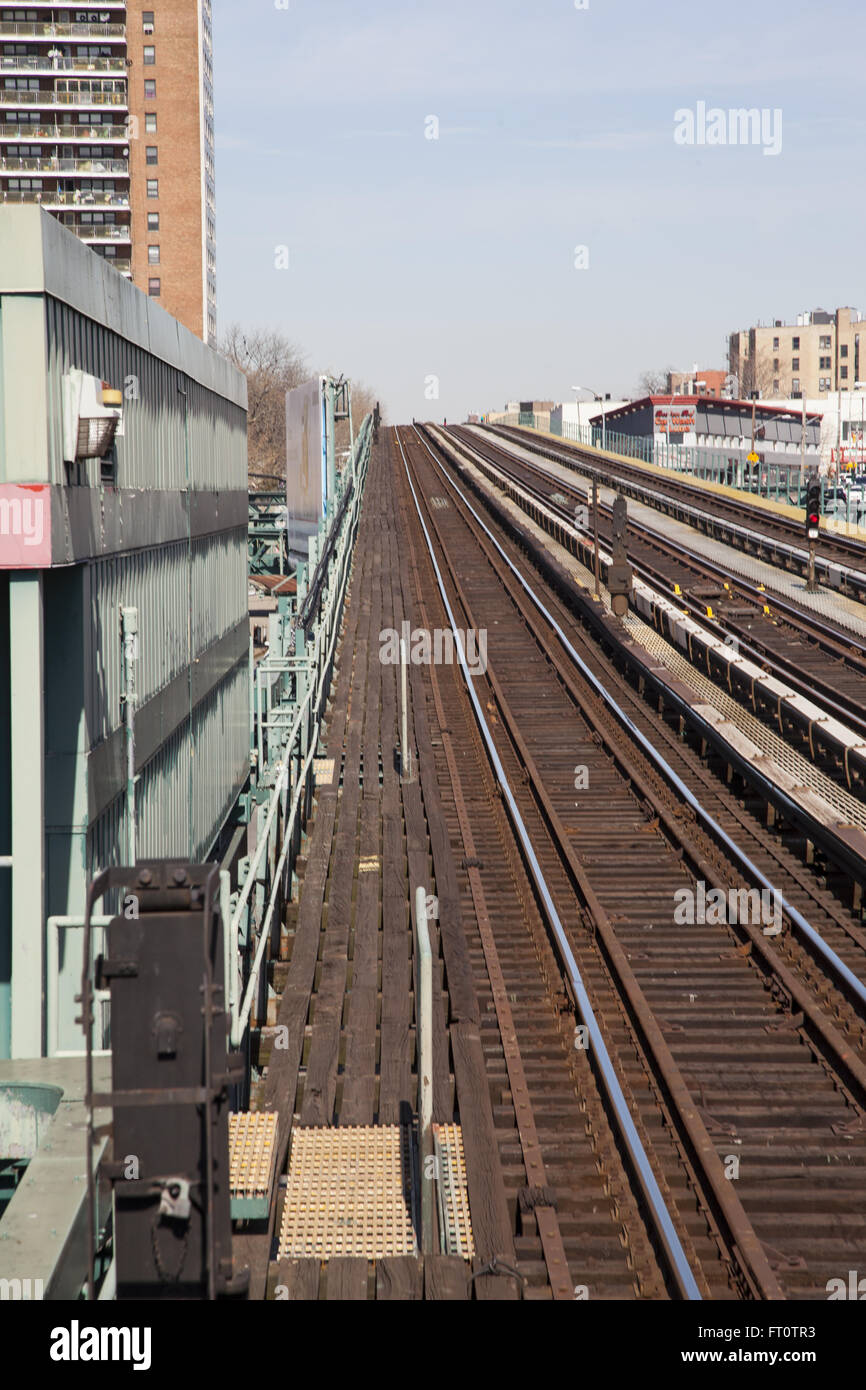 Old elevated subway train tracks in the Bronx, New York City. Stock Photo