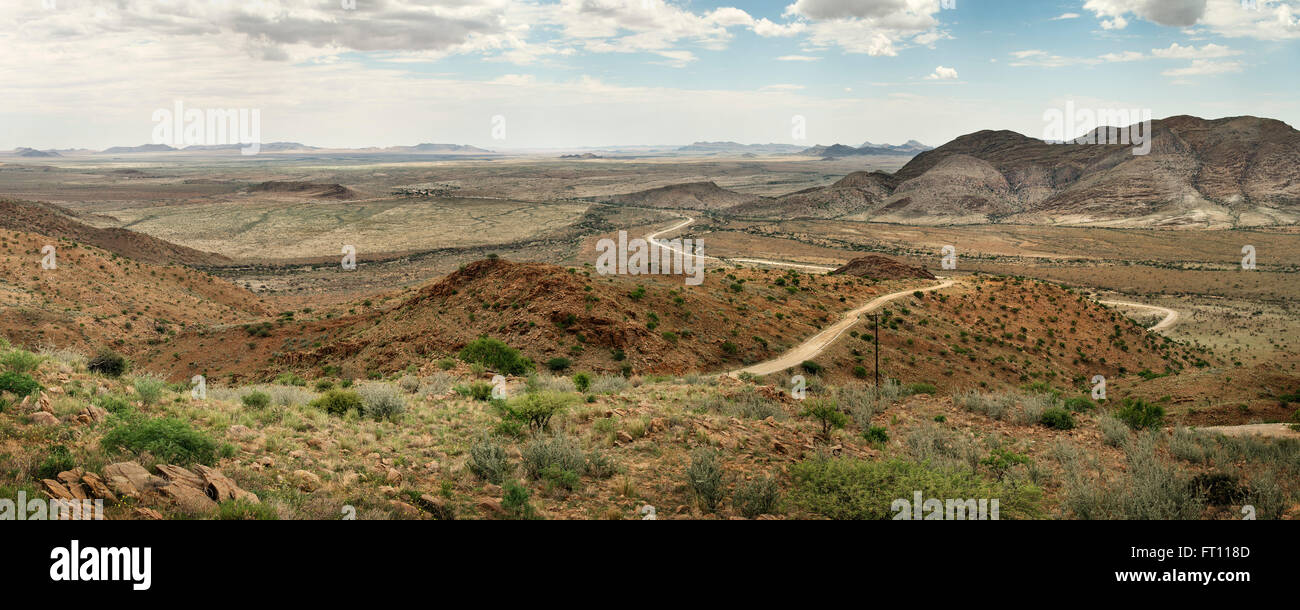 Panoramic view to surrounding mountains with some vegetation close to Windhoek, Namibia, Africa - Stock Image