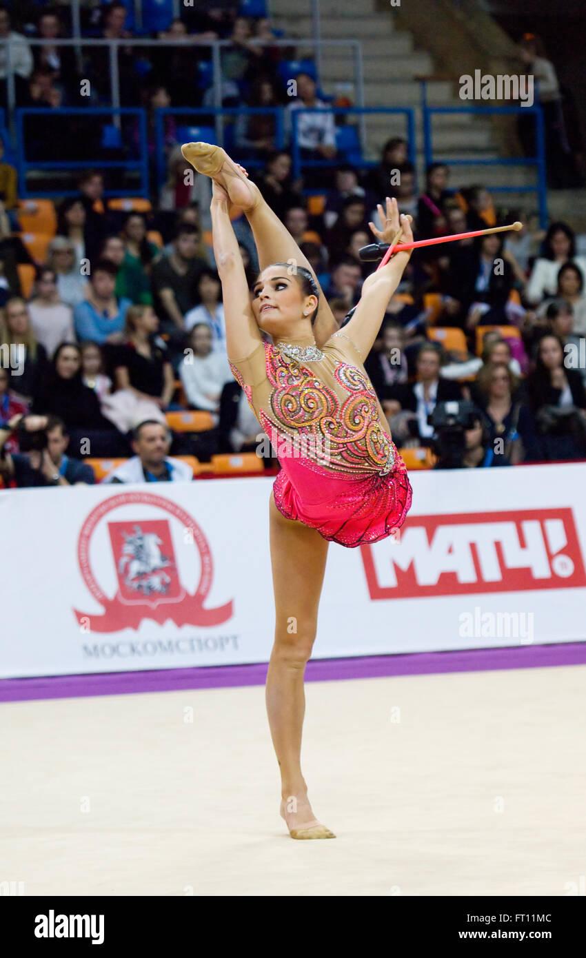 MOSCOW, RUSSIA - FEBRUARY 20, 2016: Dora Vass, Hungary on Rhythmic gymnastics Alina Cup Grand Prix Moscow - 2016 - Stock Image