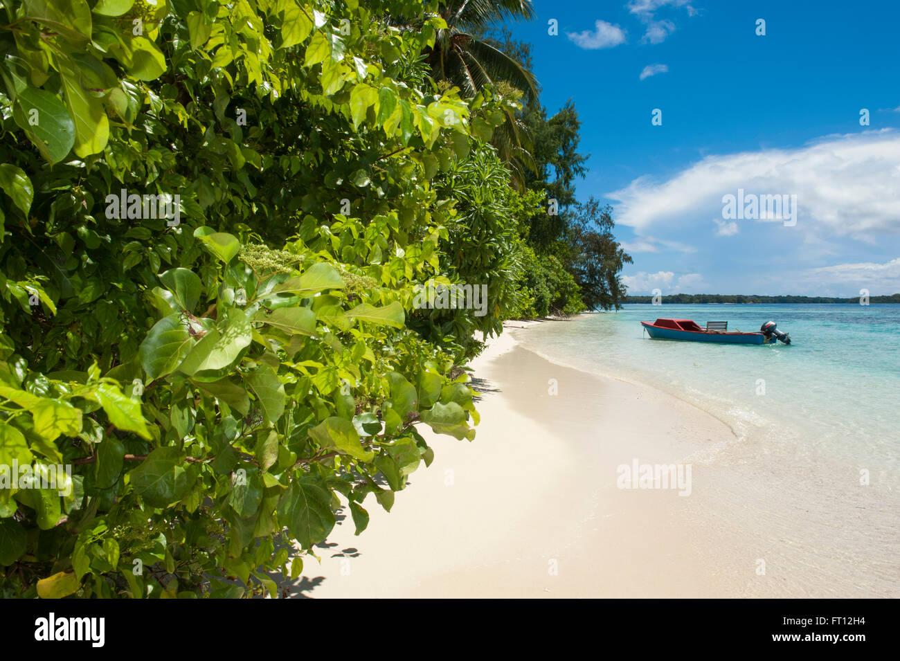 Fishing boat on a tropical beach, Onua island, Makira Province, Solomon Islands, South Pacific - Stock Image