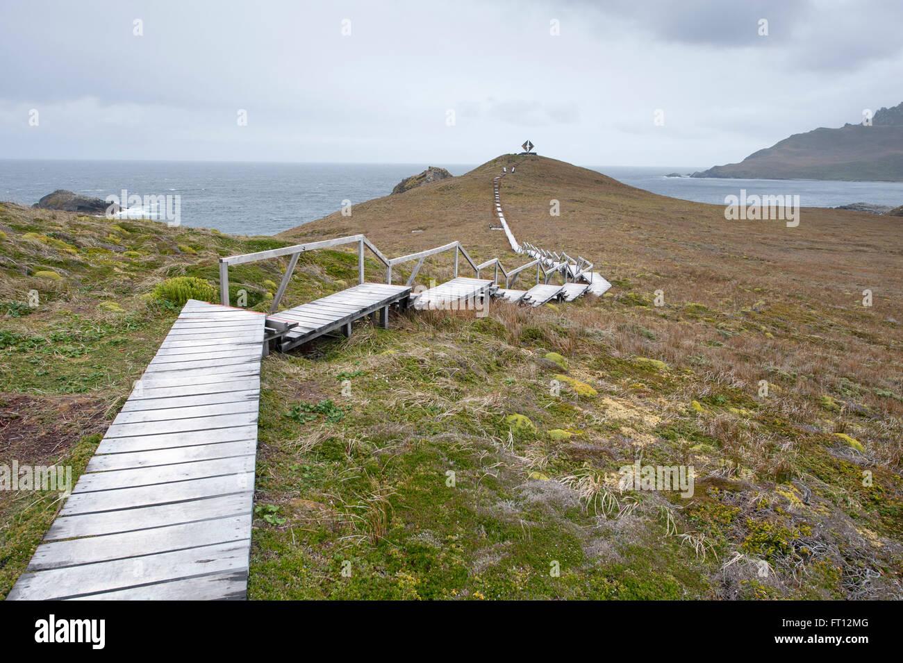Boardwalk to Albatros monument in Cape Horn National Park, Cape Horn, Isla Hornos, Magallanes y de la Antartica - Stock Image