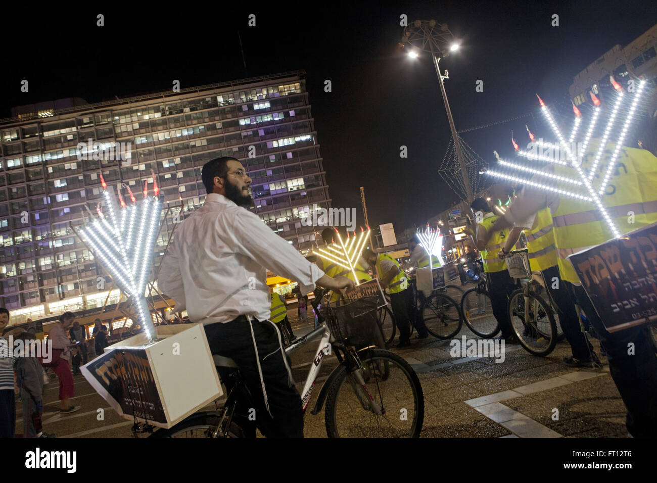 Hanukkah celebrations on bicycles in Rabin Square, Tel-Aviv, Israel, Asia - Stock Image