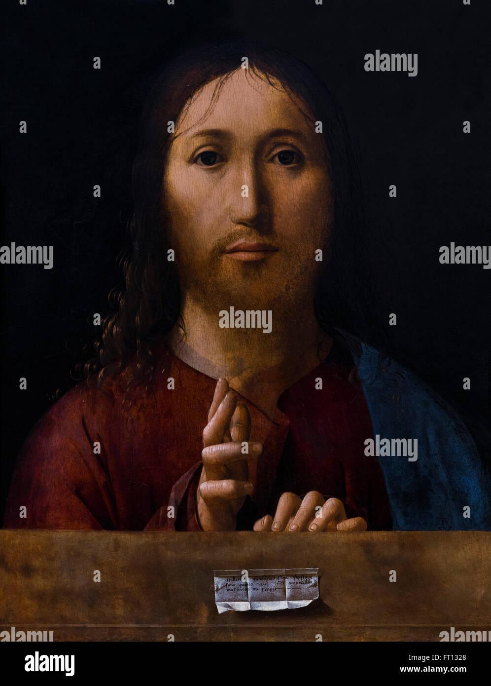 Christ Blessing, Salvator Mundi, by Antonello da Messina, 1465, - Stock Image