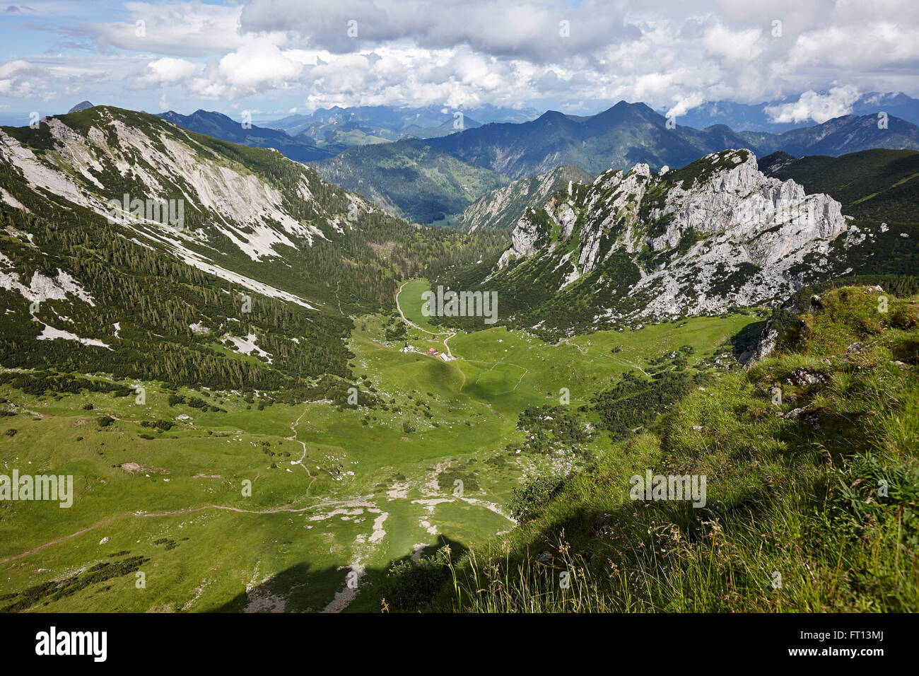 View from mount Rotwand over alp Grosstiefentalalm, Mangfall Mountains, Bavaria, Germany - Stock Image
