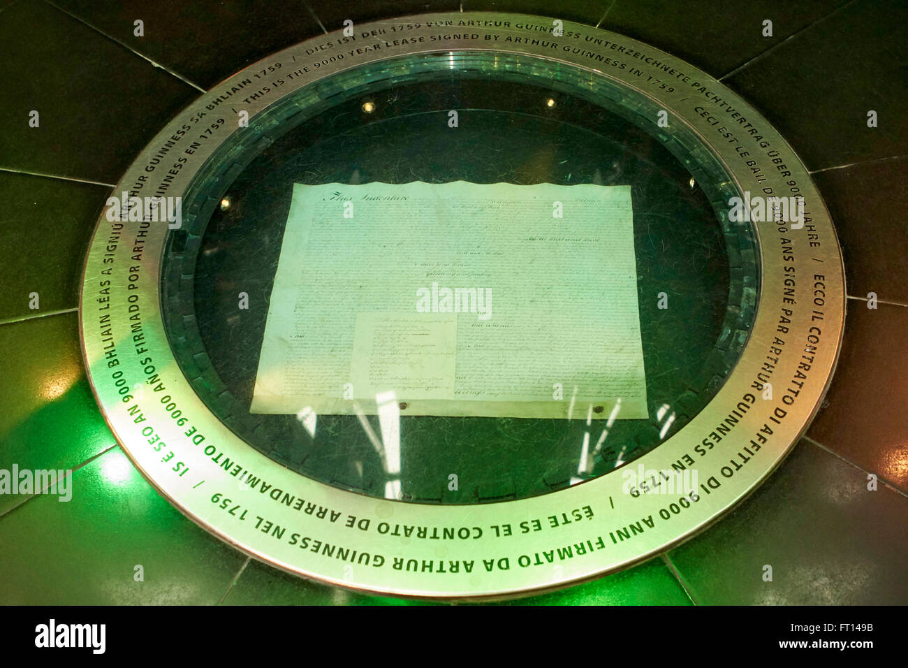 copy of arthur guinness's 9000 year lease in the guinness storehouse dublin Ireland - Stock Image