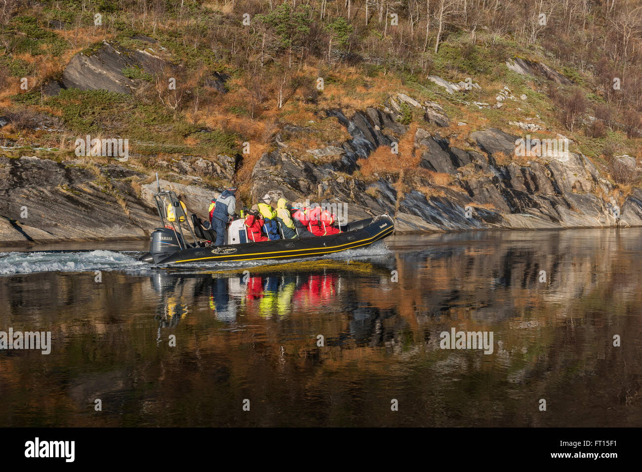 Riding the Saltstraumen in a rigid inflatable boat. Bodø in Nordland county, Norway. Europe Stock Photo