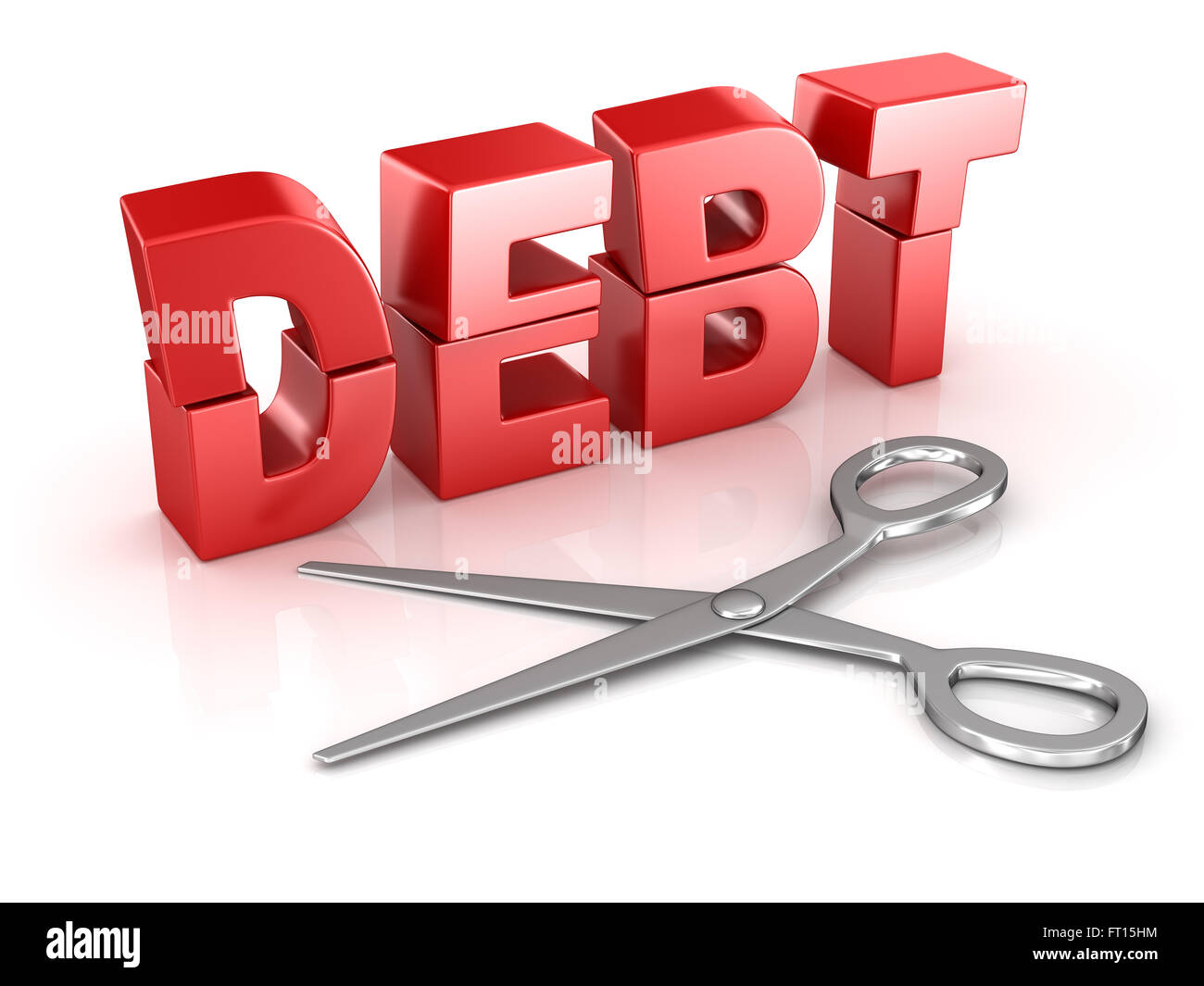 Scissors cut debt word , This is a computer generated and 3d rendered picture. - Stock Image