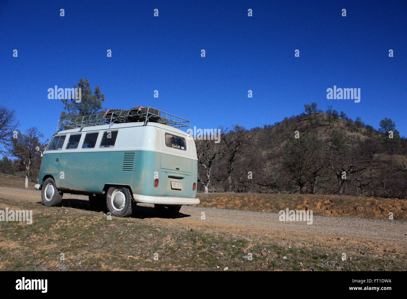 USA road trip in a vintage VW campervan - Stock Image