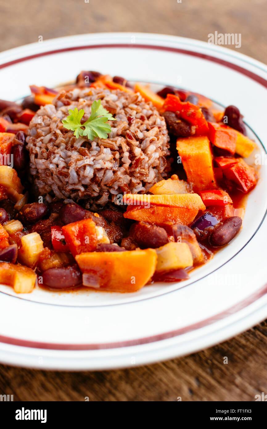 Sweet Potato Gumbo with Red Rice - Stock Image