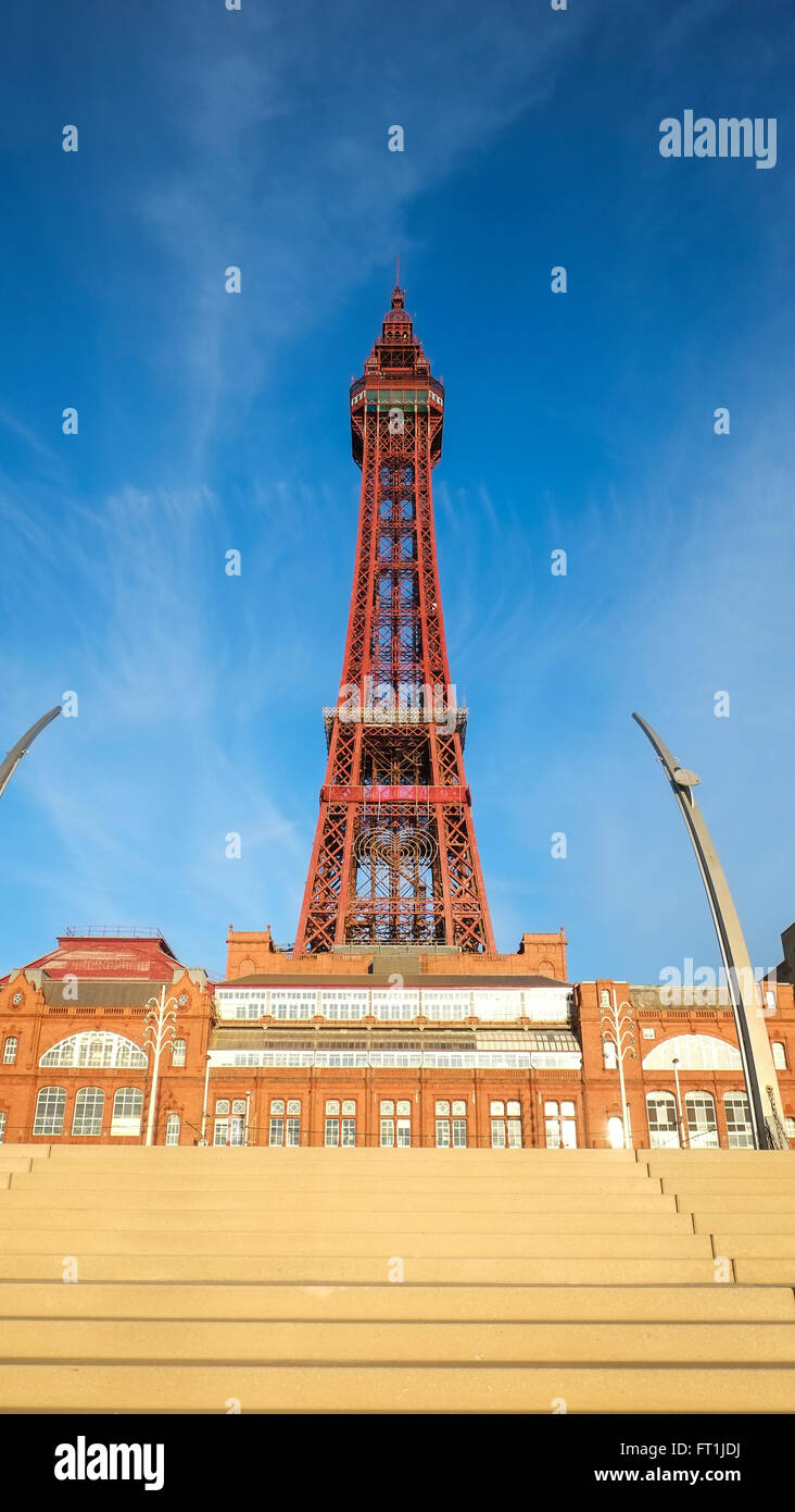 View of Blackpool Tower from the promenade - Stock Image