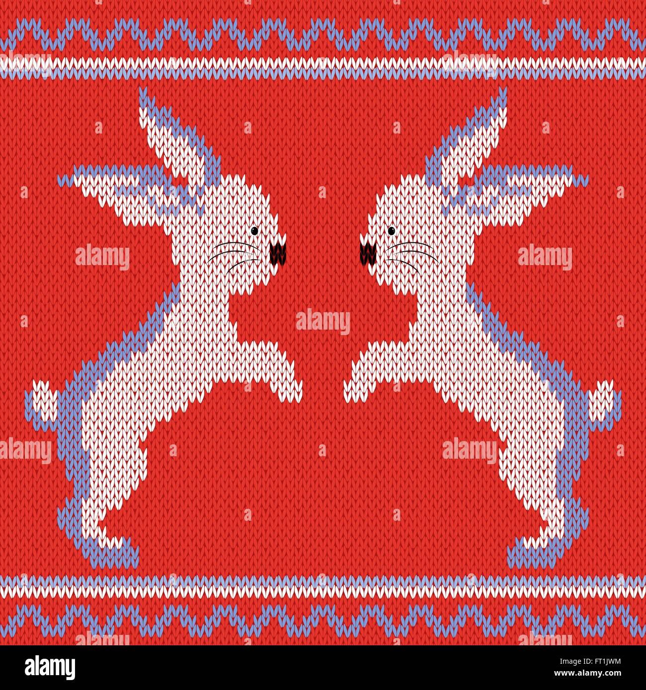 Knitted Ornamental vector pattern with white and blue two rabbits on the bright red background - Stock Vector