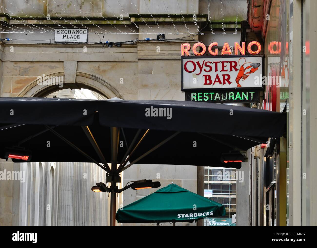 The famous Rogano Oyster Bar Restaurant sign in Glasgow, Scotland, UK - Stock Image