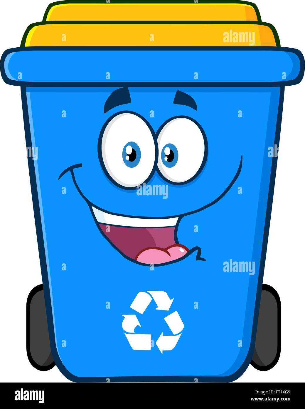 Happy Blue Recycle Bin Cartoon Character Stock Vector Art