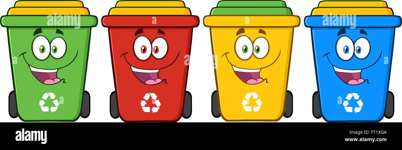 four color recycle bins cartoon character stock vector art dumpster clip art images dumpster fire clipart