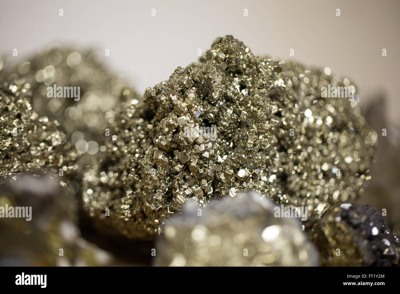 Pyrite also known as fools gold - Stock Image