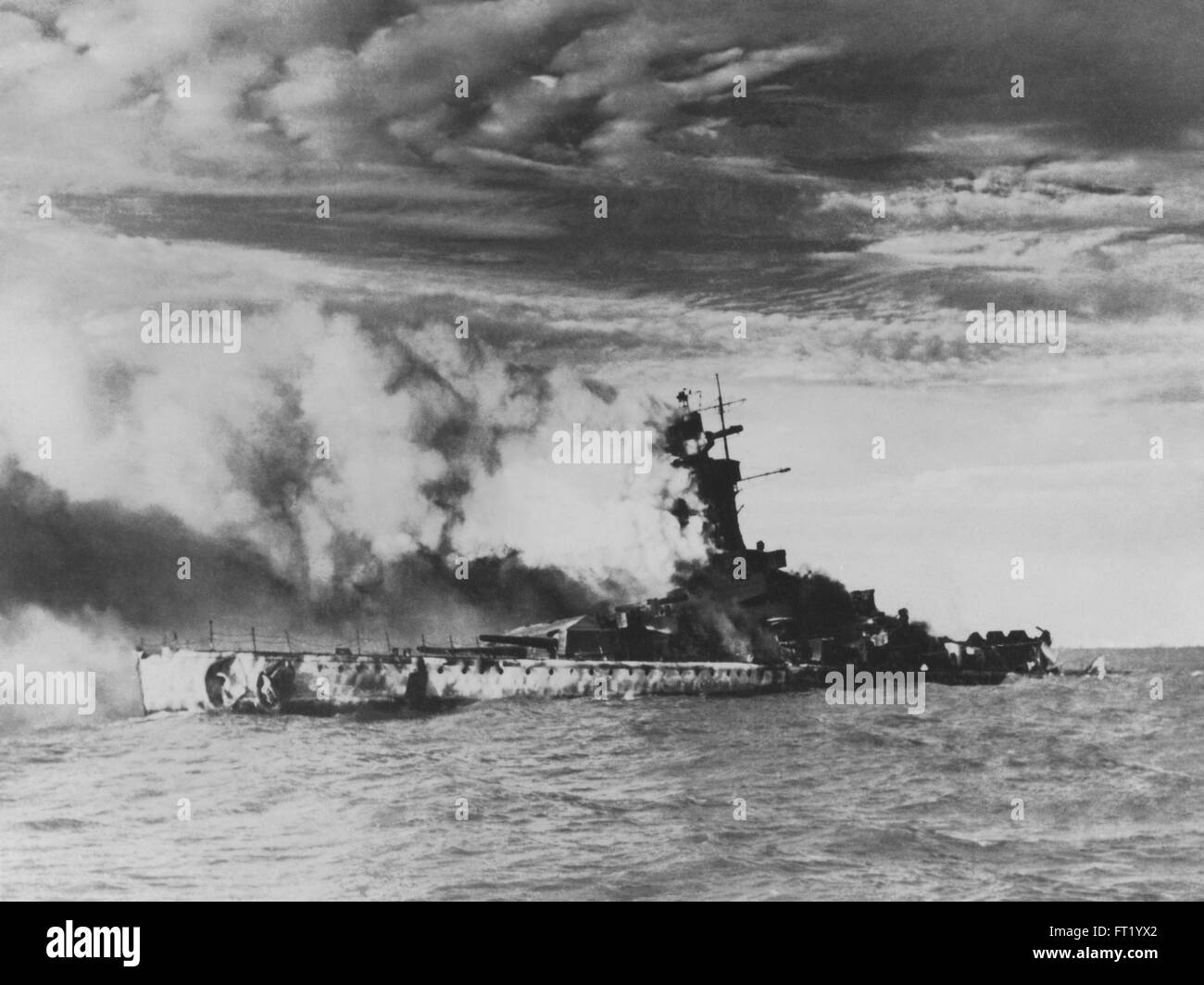 Admiral Graf Spee German Pocket battleship sinking and being destroyed as it was scuttled on the River Plate, Uruguay - Stock Image