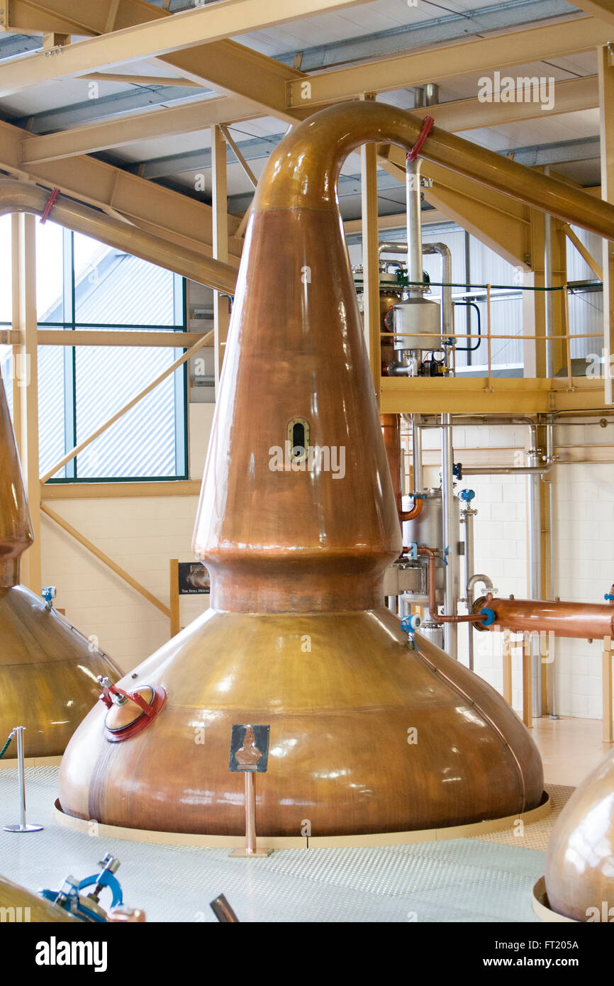 The unique lantern type stills made of copper at The Glenlivet Distillery in Speyside of Scotland give a nice taste - Stock Image