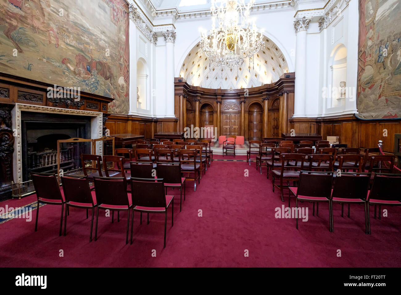 The Irish House of Lords chamber, in the former Irish Houses of Parliament, now Bank of Ireland, Dublin, Republic Stock Photo