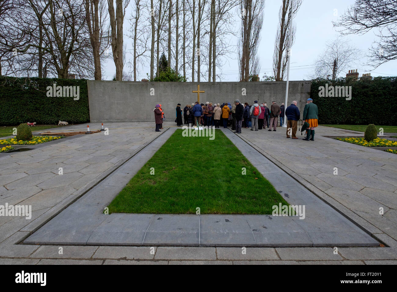 Burial spot of the executed leaders of the Easter Rising of 1916, in the old prison yard of Arbour Hill Prison, - Stock Image
