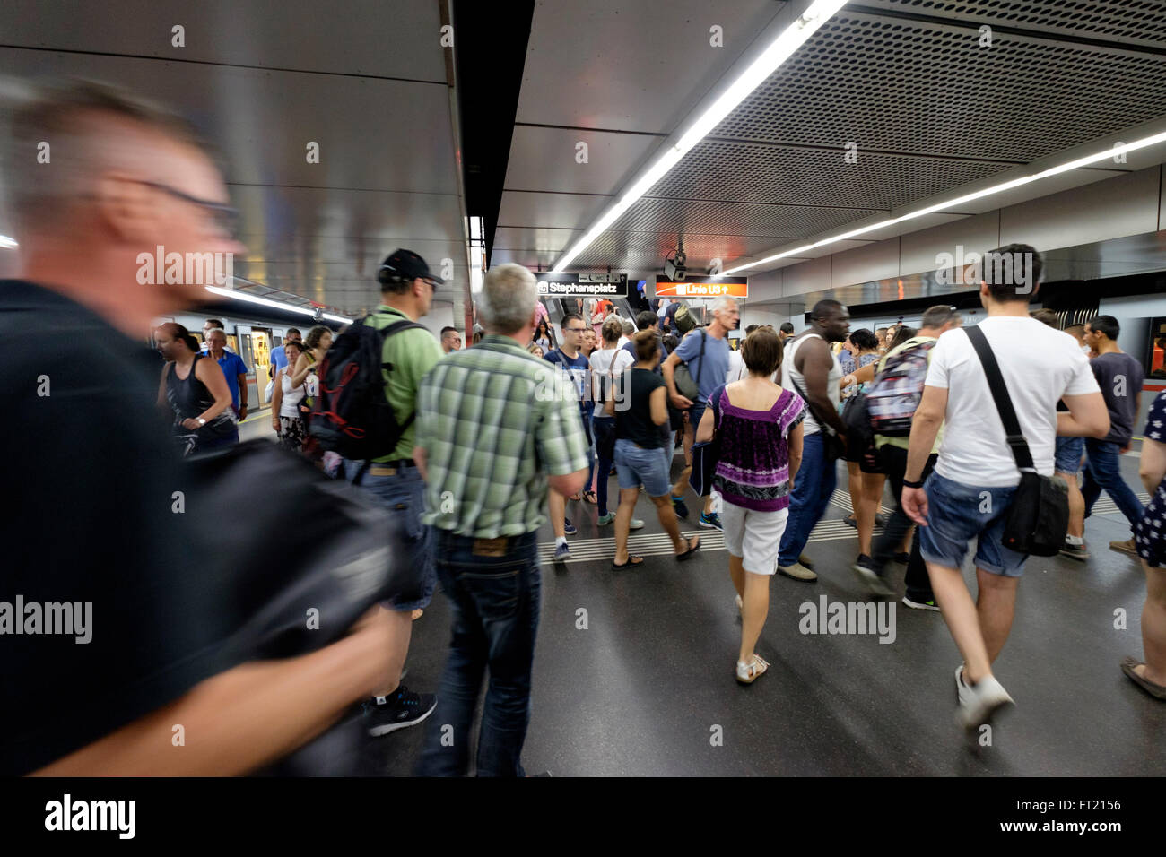 Busy Stephansplatz U-Bahn underground metro station in Vienna, Austria, Europe - Stock Image