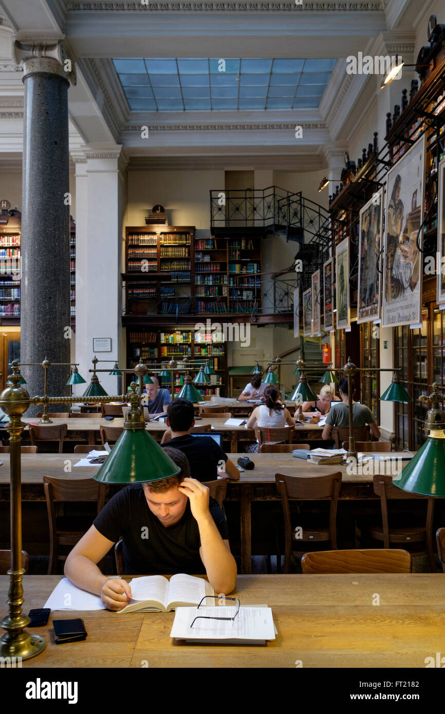 Young man studying at the University of Vienna library, Austria, Europe Stock Photo