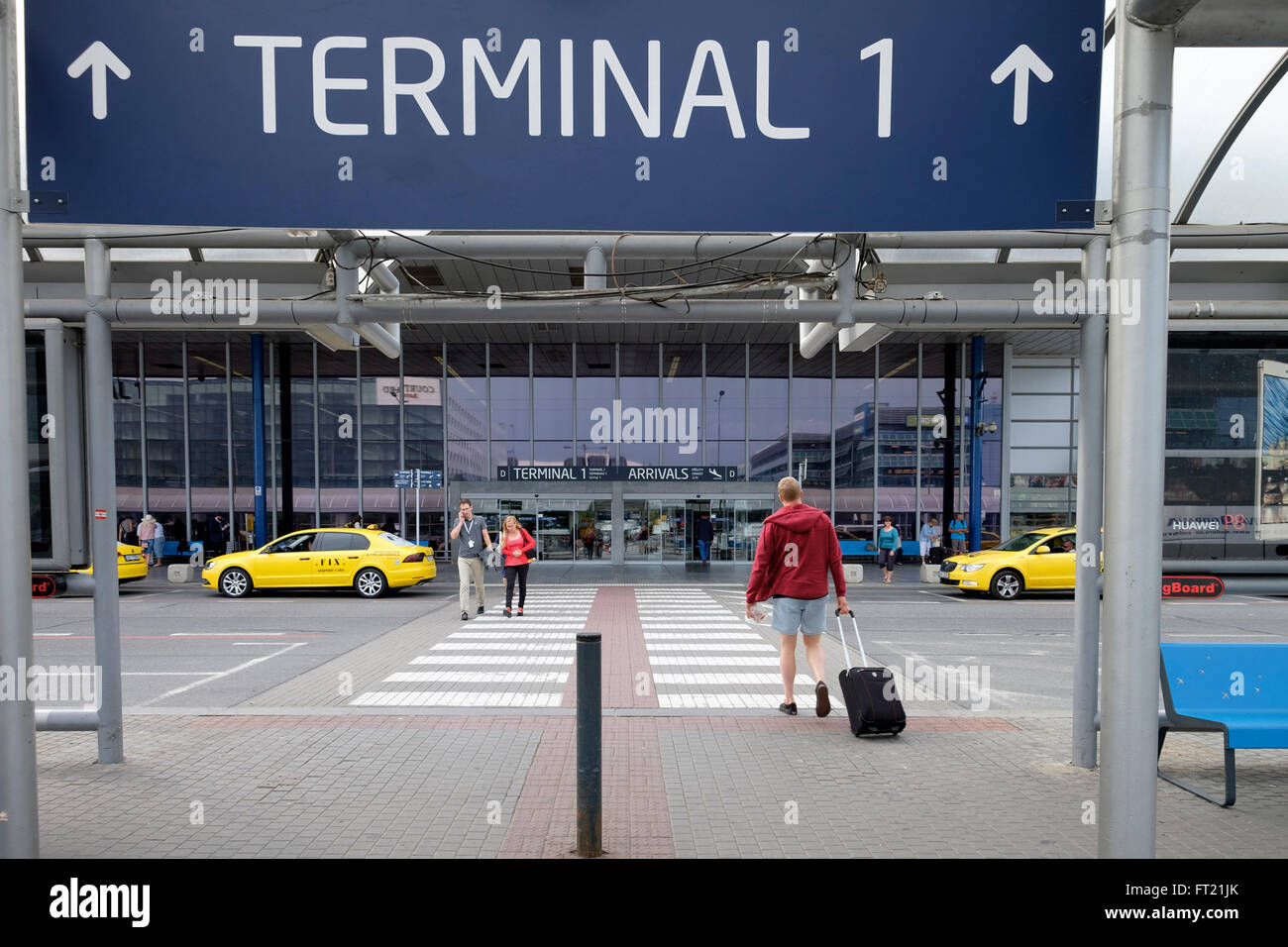 Vaclav Havel Airport terminal 1 in Prague, Czech Republic, Europe - Stock Image