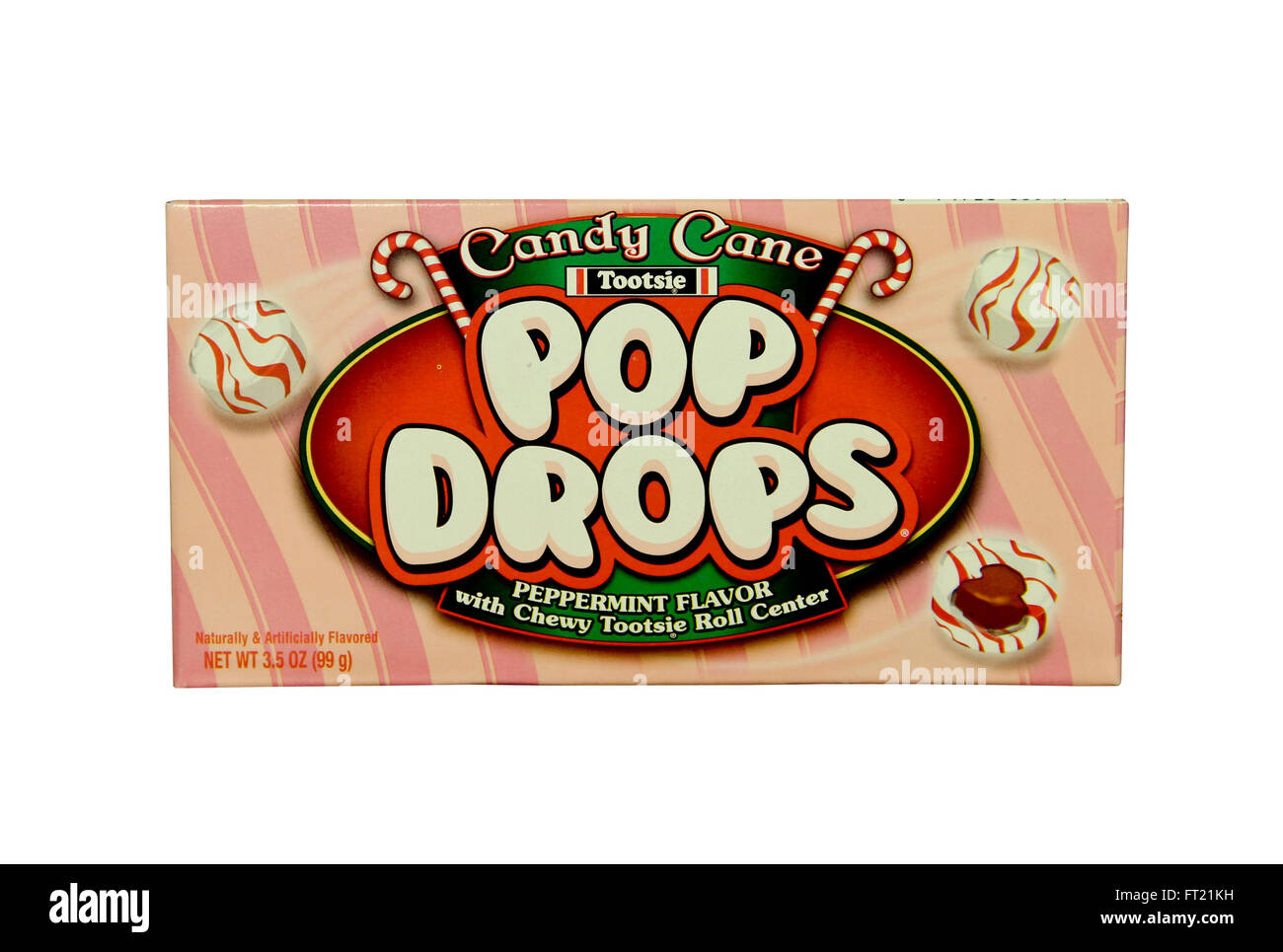 SPENCER , WISCONSIN- JANRUARY 29, 2014 : box of Candy Cane Pop Drops, Pop Drops are now made by Tootsie Roll Industries - Stock Image