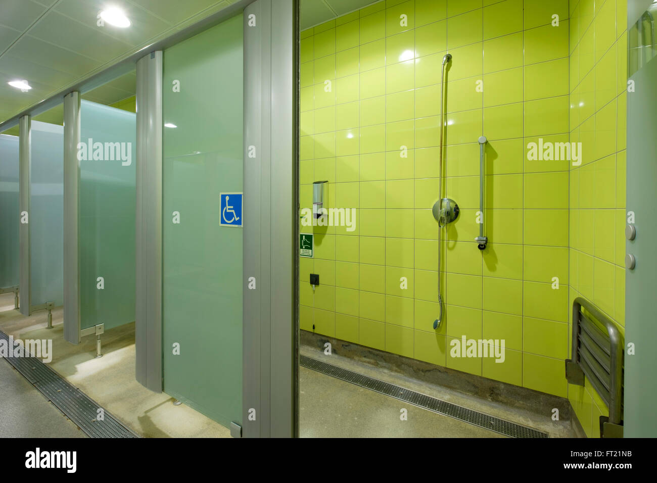 Disabled shower cabin at the gym - Stock Image