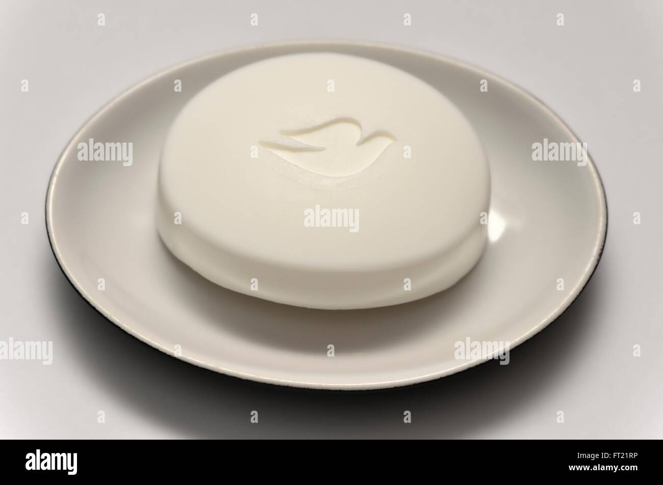 A bar of dove soap in a white dish Stock Photo