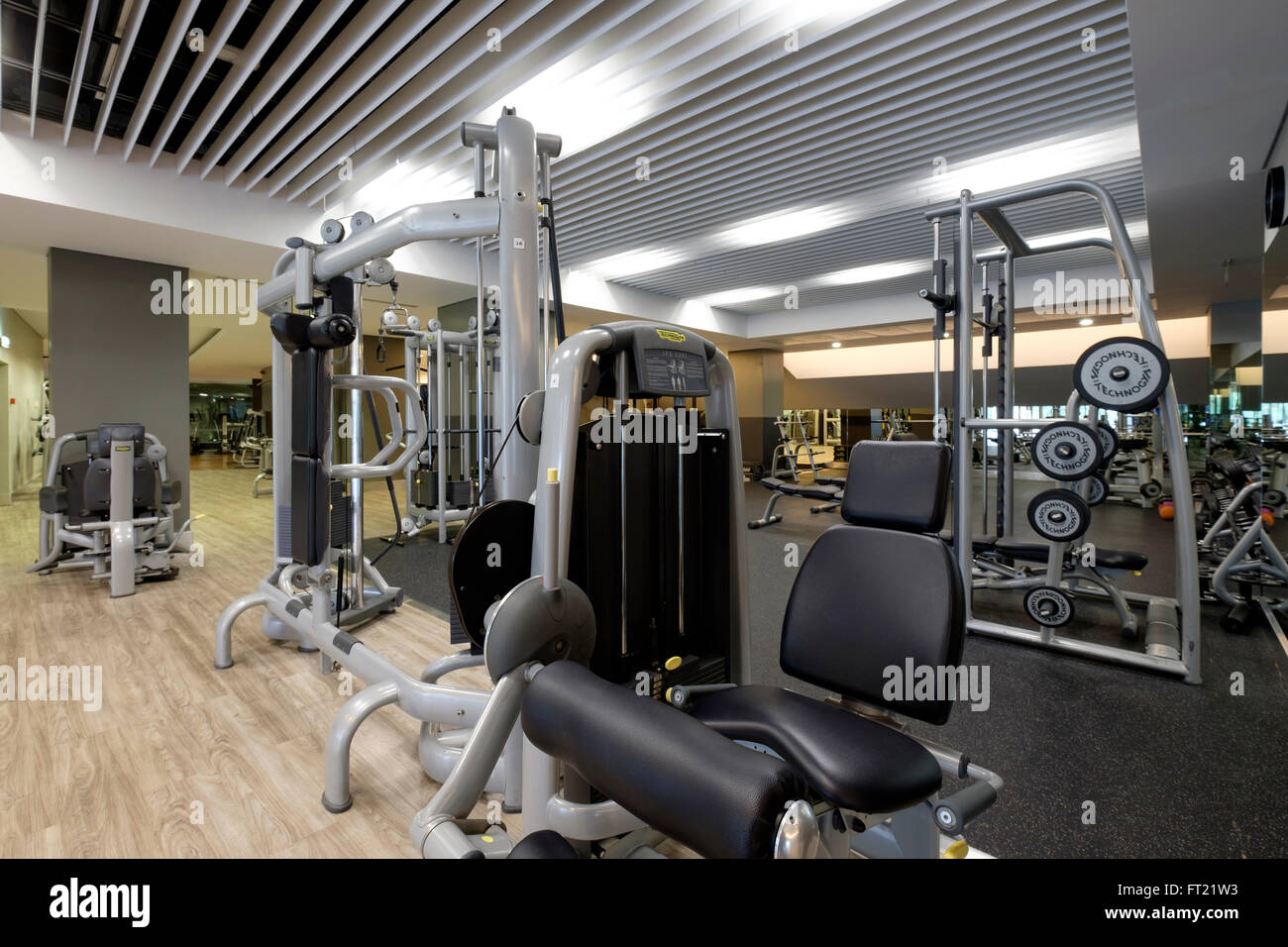 Equipment at an empty gym - Stock Image