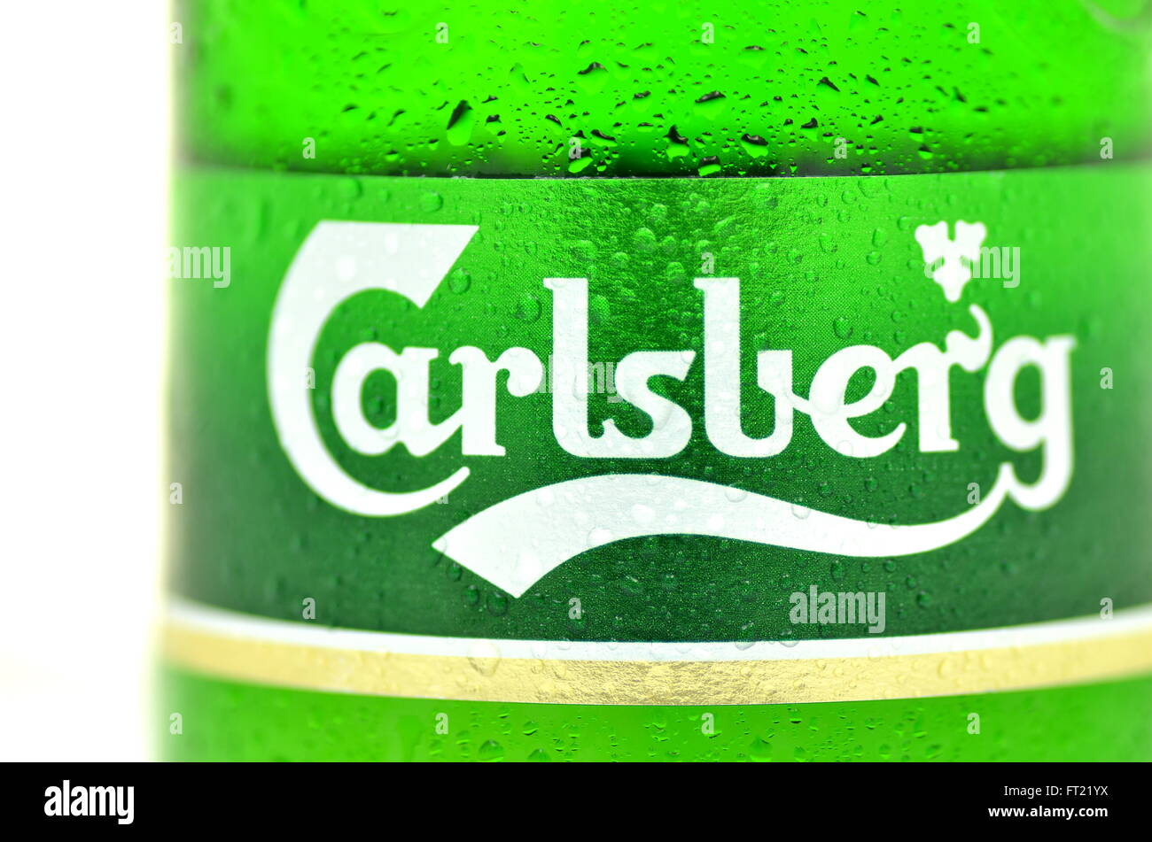 Carlsberg beer isolated on white background - Stock Image