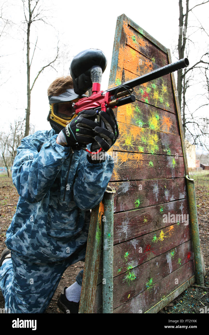 Gun and mask for game in a paintball Stock Photo