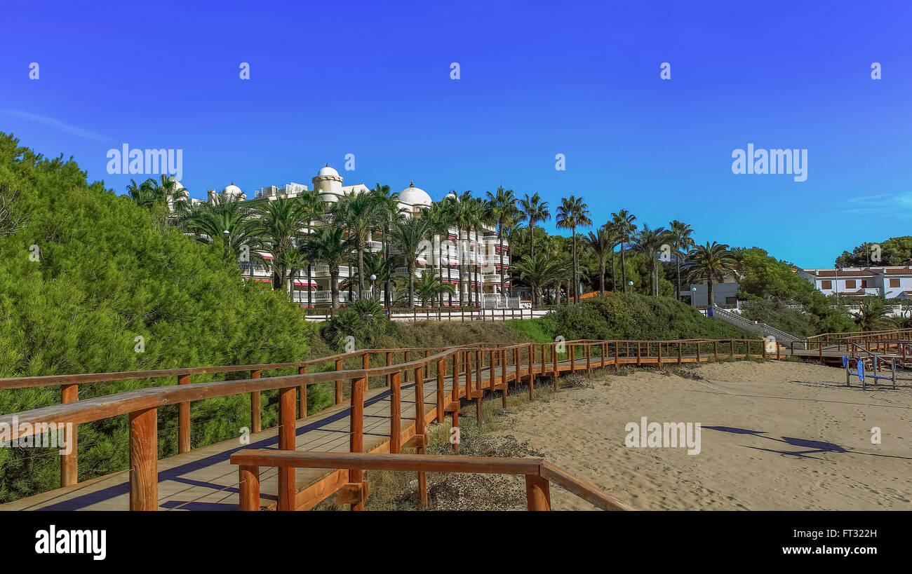 Wooden descent to the beach, Spain - Stock Image