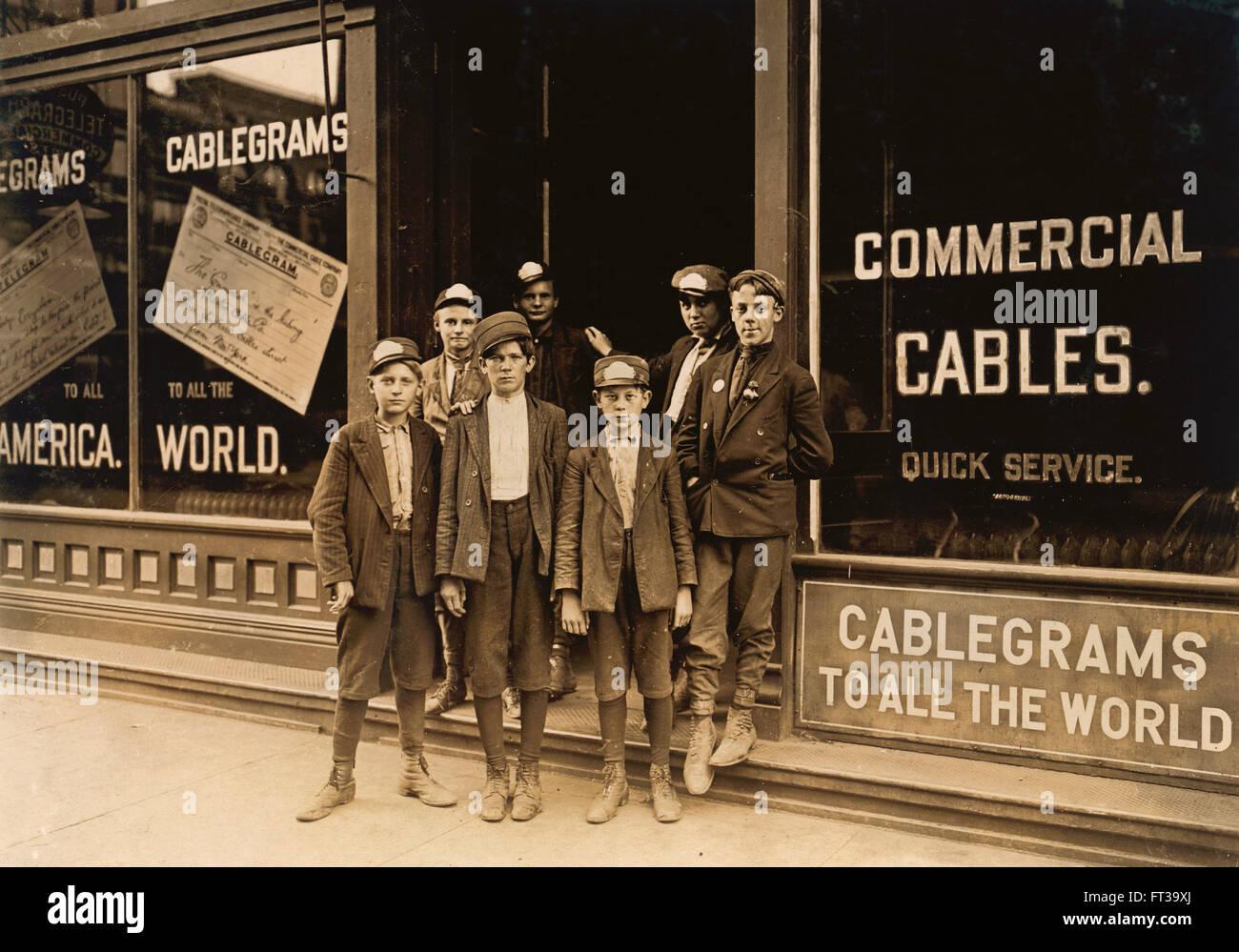 Portrait of Young Postal Telegraph Messengers, Indianapolis, Indiana, USA, circa 1908 - Stock Image