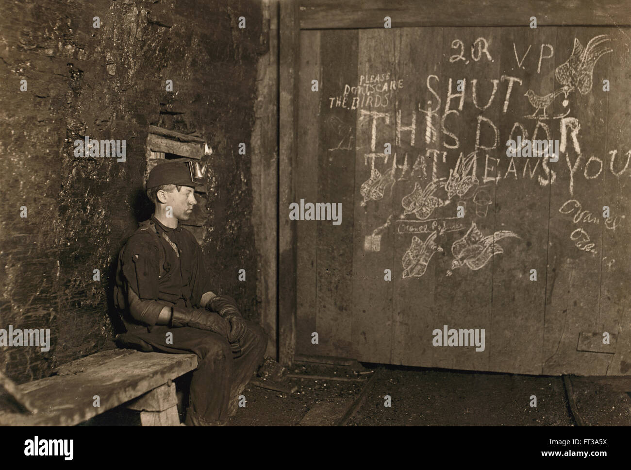Portrait 15 Year Old Boy Working As Trapper Coal Mine His Only Job Is Stock Photo Alamy
