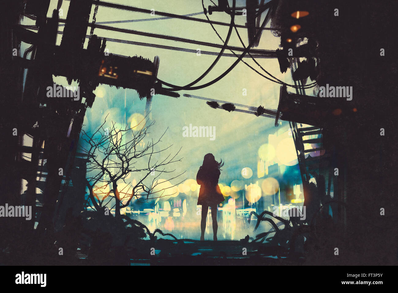 woman standing among old ruins looking outside,illustration painting - Stock Image